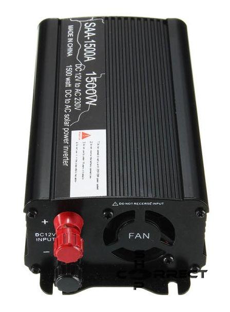 Solar Power Inverter SAA-1500A módosított szinuszos, szigetüzemű, kompakt inverter, 12V, 1500W