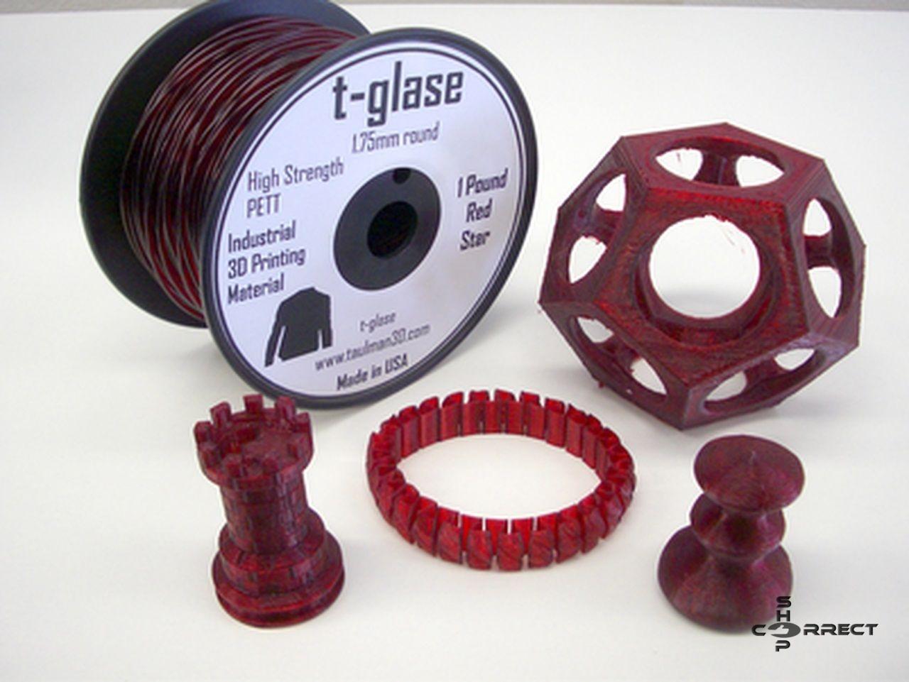 Taulman Red T-Glase Filament PETT - 1.75mm 450g