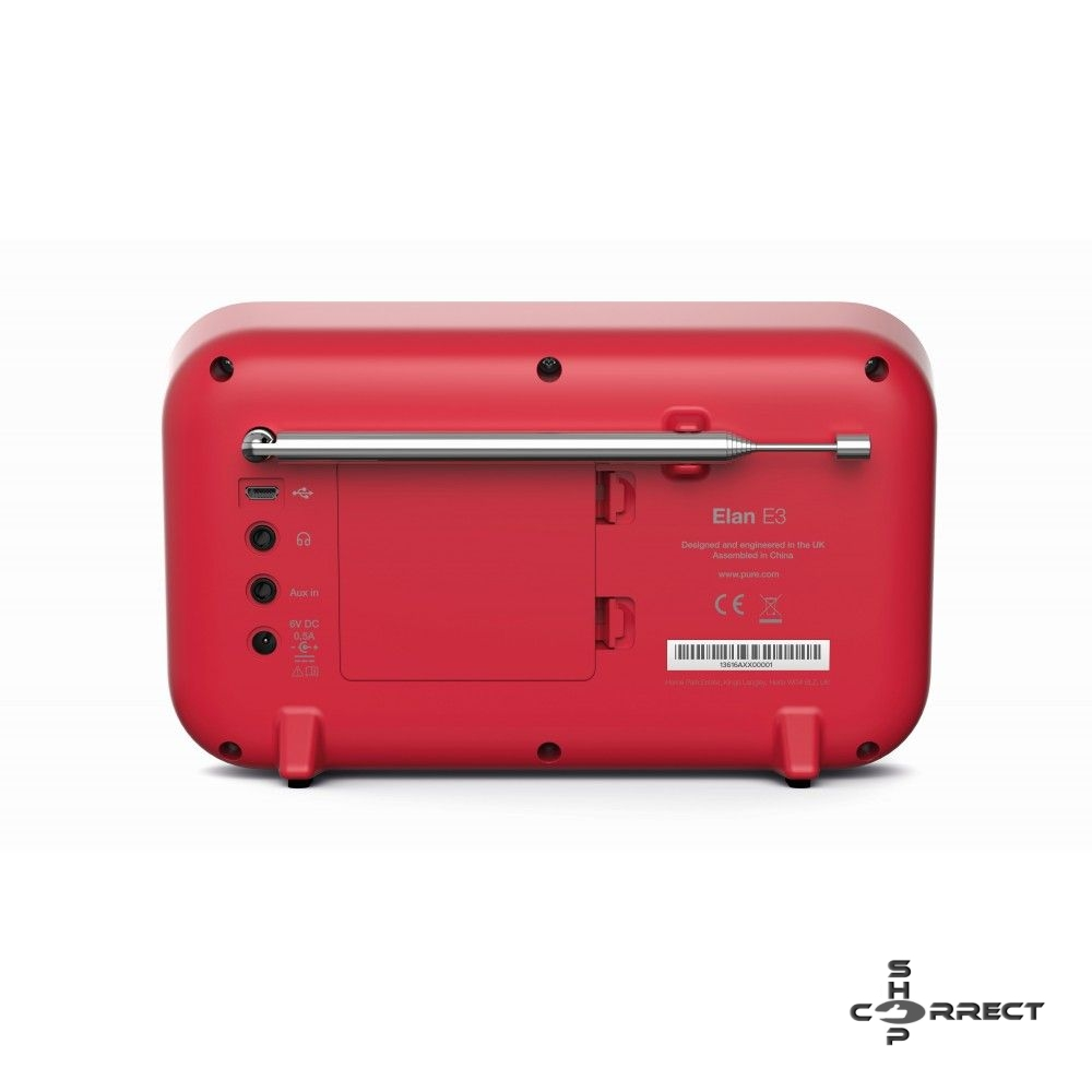 Pure Elan E3 hordozható FM rádió, DAB/DAB+ - piros